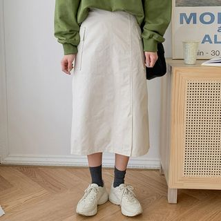 MERONGSHOP - Slit-Front Cargo Long A-Line Skirt