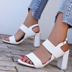 Weiya - Woven Strap Chunky Heel Sandals