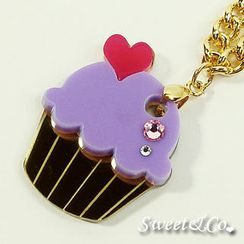 Sweet & Co. - Mini Purple Cupcake Crystal Gold Necklace