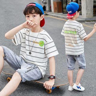 PAM - 小童套装: 短袖条纹图案印花T裇 + 牛仔短裤