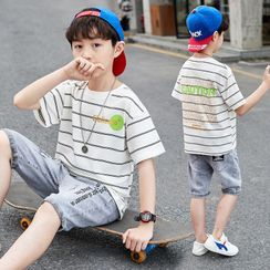 PAM - Kids Set: Short-Sleeve Striped Graphic Print T-Shirt + Denim Shorts
