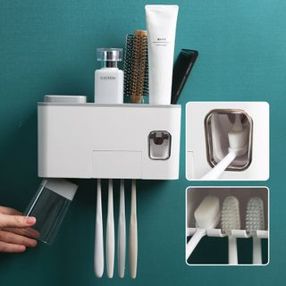 Home Simply - Plastic Wall Organizer with Toothpaste Dispenser
