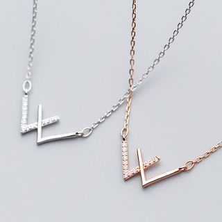 A'ROCH(エーロック) - 925 Sterling Silver Rhinestone Double V Shaped Pendant Necklace