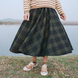 Echo Forest(エコーフォレスト) - Plaid A-Line Midi Skirt