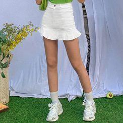 Bababy - Ruffle-Hem A-Line Mini Skirt