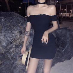 Yaxida - 短袖露肩迷你塑身连衣裙