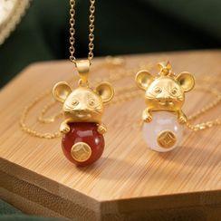 Andante(アンダンテ) - Agate Mouse Pendant Necklace