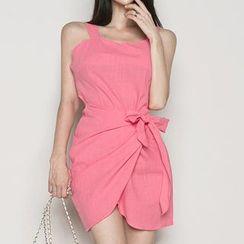 Shacos - Wide-Strap Tie-Waist Minidress
