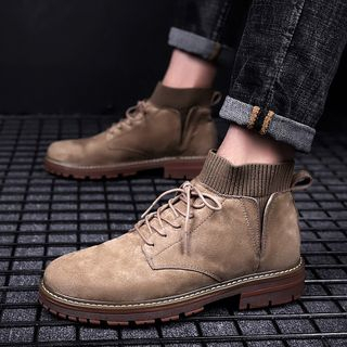 MARTUCCI - Sock-Inset Lace-Up Ankle Boots