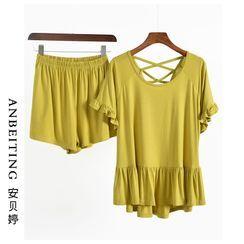 Anbeitin - 家居服套装: 荷叶边短袖T裇 + 短裤