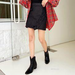 DEEPNY - Inset Shorts Frilled Coated Miniskirt