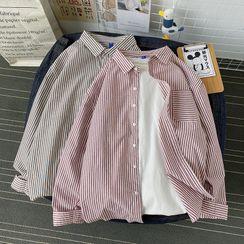 Soulcity - 前口袋細直條紋長袖寬鬆襯衫