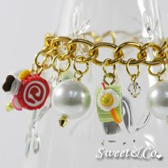 Sweet & Co. - Slice of cake charm & Pearl Crystal Gold Bracelet