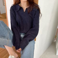 Envy Look - Collared Open-Placket Knit Top