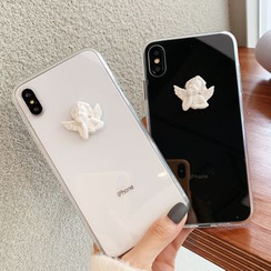 OUROBA - Clear Mobile Case with Angel Motif - iPhone 11 Pro Max / 11 Pro / 11 / XS Max / XS / XR / X / 8 / 8 Plus / 7 / 7 Plus / 6S / 6S Plus