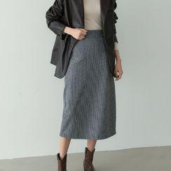 PPGIRL - Pocket-Side Long Checked Skirt