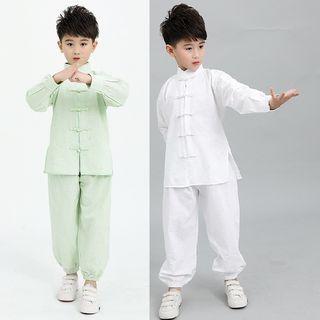 SEE SAW - Kids Set: Plain Cheongsam Top + Pants