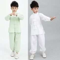 SEE SAW - 小童套装:纯色旗袍上衣 + 裤