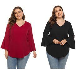 Chelsie Chic - Plus Size V Neck Plain Blouse