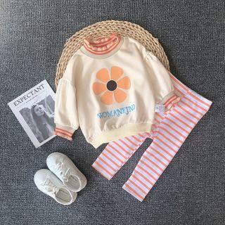 MOM Kiss - Kids Set: Striped Pullover + Cropped Harem Pants