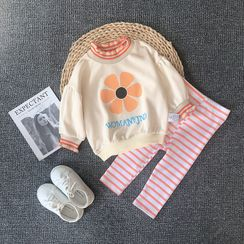 MOM Kiss - Kids Set: Striped Pullover + Cropped Harem Pants