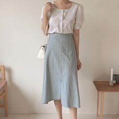EFO - Short-Sleeve Floral Print Blouse / Midi A-Line Skirt
