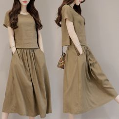 Elbelier - Set: Short-Sleeve T-Shirt + Midi A-Line Skirt