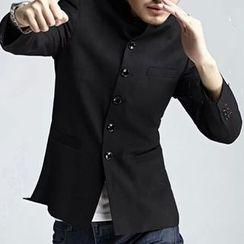 Cleve(クリーブ) - Set: Stand Collar Button-Up Jacket + Mandarin Collar Shirt + Dress Pants