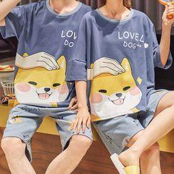 Lion Sniff - Couple Matching Loungewear Set : Short-Sleeve Dog Print Top + Shorts