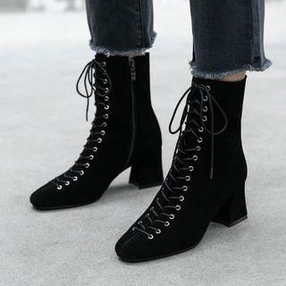 幸福鞋坊 - 粗跟系带短靴
