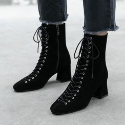 幸福鞋坊 - 粗跟繫帶短靴