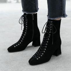 Pangmama - Block Heel Lace Up Short Boots