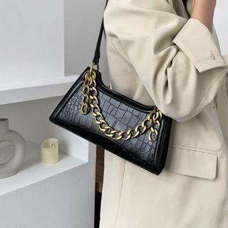 Kunado - Faux Leather Chained Handbag