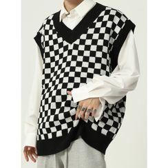 FAERIS - Checkerboard Pattern Sweater Vest