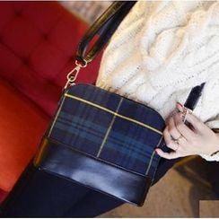 Rosanna Bags - Faux-Leather Panel Plaid Cross Bag