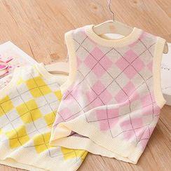 貝殼童裝 - 小童菱格針織馬甲
