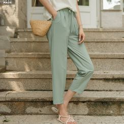 JUSTONE - Drawstring Pleated Baggy Pants