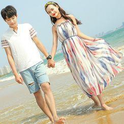 NoonSun - Couple Matching Printed Short-Sleeve T-Shirt / Midi Dress