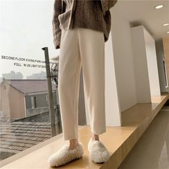 EFO - Fleece-Lined Chenille Ankle-Length Tapered Pants