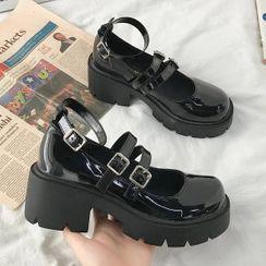 Bolitin - 厚底粗跟玛莉珍鞋