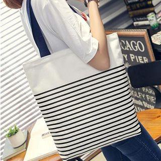 Libra - Striped Canvas Tote Bag