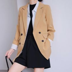 Klevy - Plain Double-Breasted Blazer