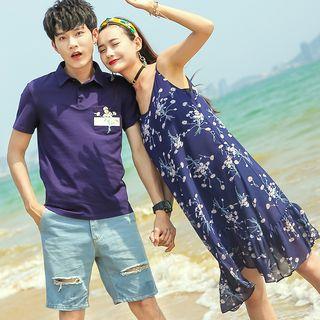 NoonSun - Couple Matching Pocket Detail Short-Sleeve Polo Shirt / Floral Spaghetti Strap Dress