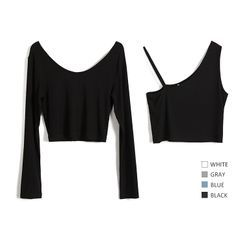 Itzus - Set: Long-Sleeve T-Shirt + Asymmetrical Cropped Tank Top