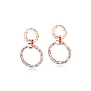 BELEC - Simple and Fashion Plated Rose Gold Roman Numerals Geometric Hollow Round 316L Stainless Steel Earrings with Cubic Zircon