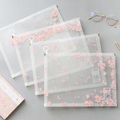 Yogow - Sakura Print Transparent A4 Document Pouch