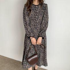 HW Studio - Puff-Sleeve Floral Print Midi A-Line Dress