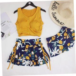 ASUMM - 套装: 印花坦基尼泳衣 + 游泳短裤