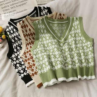 Lemongrass(レモングラス) - Argyle Cropped Sweater Vest