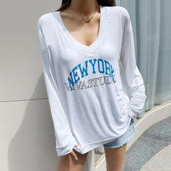 DABAGIRL - V-Neck Letter Print T-Shirt